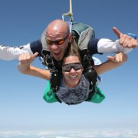 Tandem skydivers having a great time