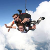 Tandem skydivers looking happy in mid free fall
