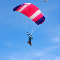 Skydiver enjoying the view from his parachute
