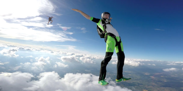 Pro skydiver dancing in the air