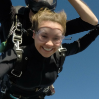 Happy tandem skydiving student
