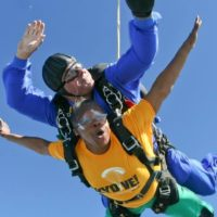 Tandem skydivers in free fall