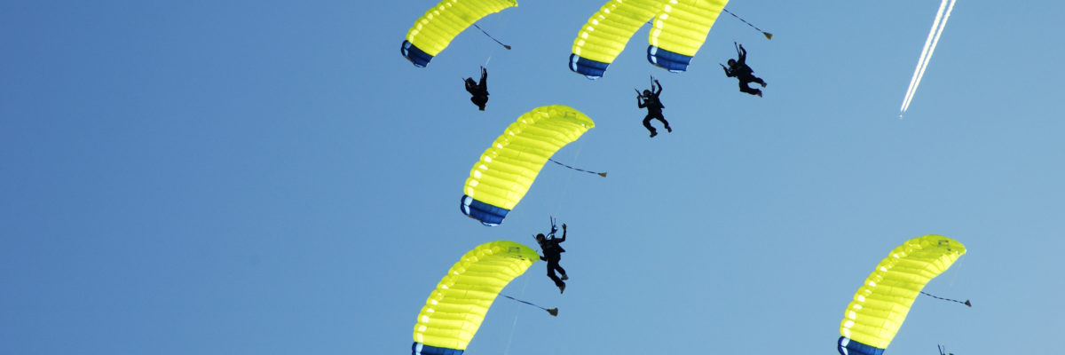 Skydiving on a beautiful day