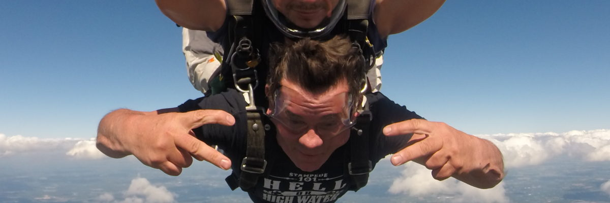Tandem skydiving student during free fall