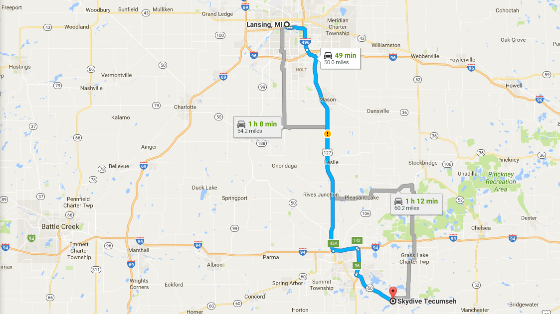Directions from Lansing, MI to Skydive Tecumseh