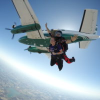 Tandem skydiving instructor and student jump from a plane