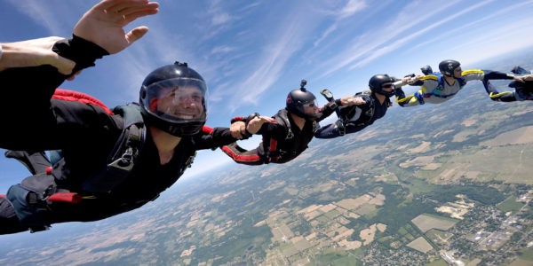 Skydivers in formation during free fall