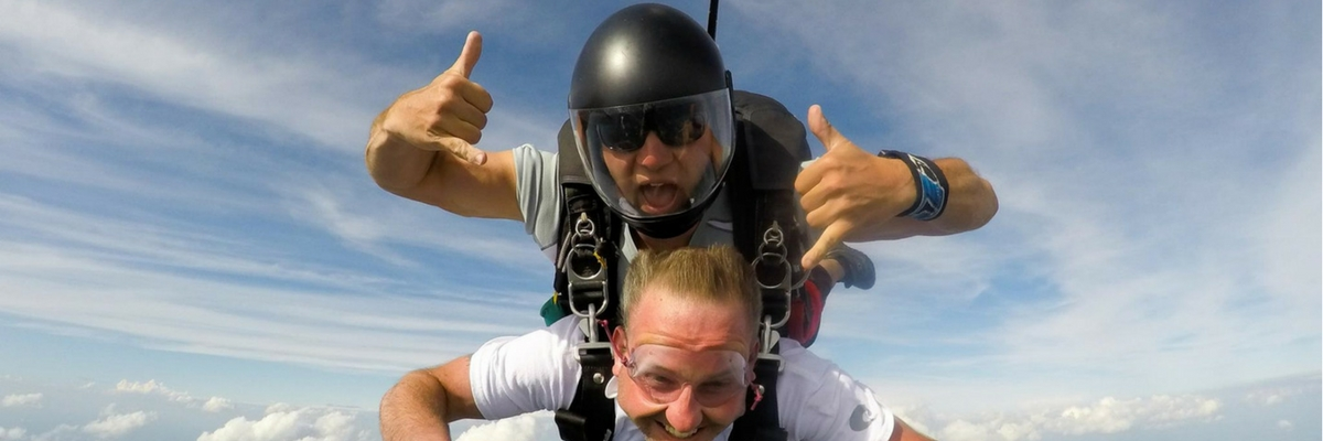 Skydiving instructor on a tandem jump with student