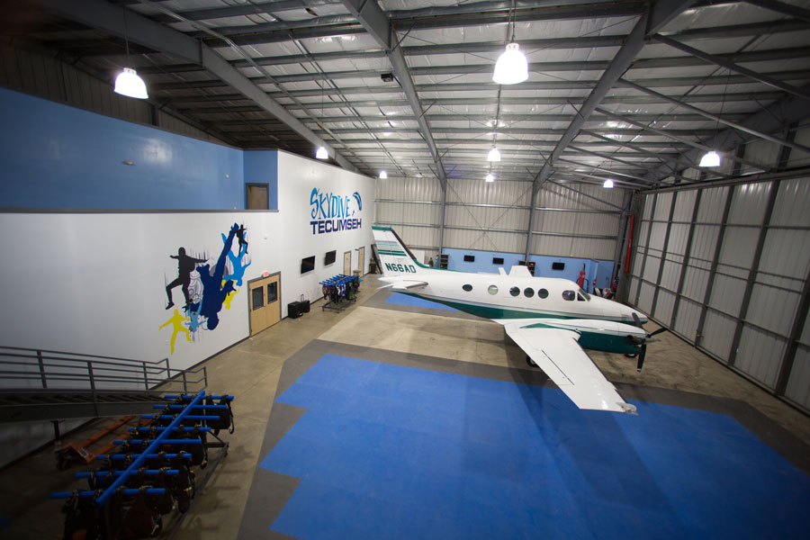 The hangar at Skydive Tecumseh
