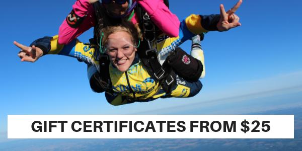 Tandem Skydiver in freefall at Skydive Tecumseh